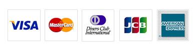 VISA、MasterCard、DinersClub、JCB、AMERICAN EXPRESSに対応しています。