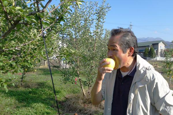 シナノゴールドを食べる片桐果樹園メンバー