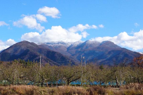 北信濃2000m級の山々とりんご畑